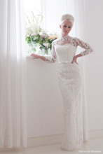 Detachable Skirt Elegant Ball Gown Wedding Dress Vintage High Neck Three Quarter Sleeve Lace Bow Bridal Gown NM 517