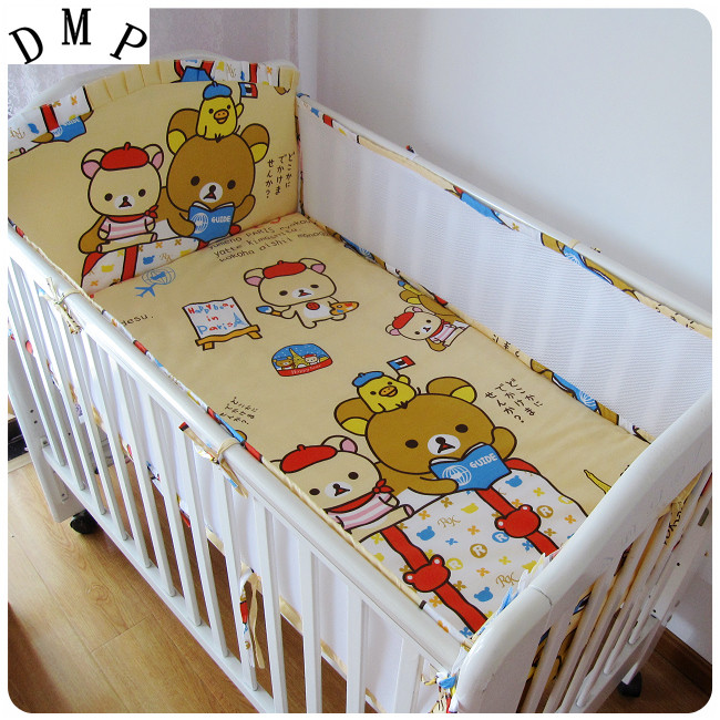 Promotion! 5PCS Mesh Bear Cotton Baby Bedding Set Cartoon Crib Bedding Set for Girls Bed Sheets ,include(4bumpers+sheet)