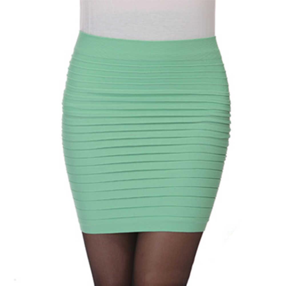 Mini jupes crayon paquet jupe de hanche dames OL bureau taille haute plissée élastique courte robe couleur bonbon