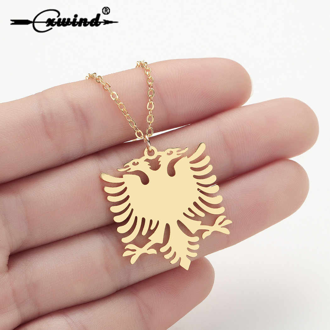 Cxwind Albania Eagle Pendant Necklaces Gold Color & Stainless Steel Animal Necklace Jewelry Ethnic Flag Gifts for Women collier