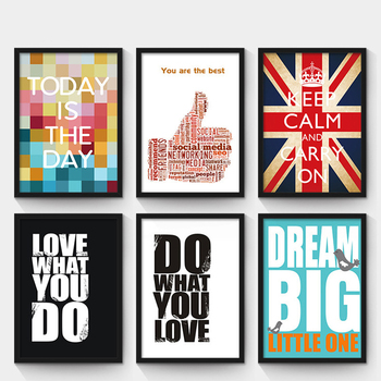 Motivational Posters Adornment Wall Picture Simple Words Letter Oil Painting Retro Bar Cafe PostersWall Painting image