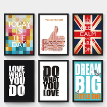 Motivational posters adornment wall picture Simple words letter oil painting Retro bar cafe