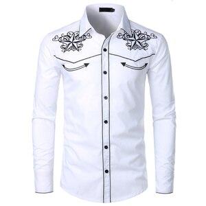 Image 5 - Рубашка мужская с вышивкой, черная, на пуговицах, с длинным рукавом