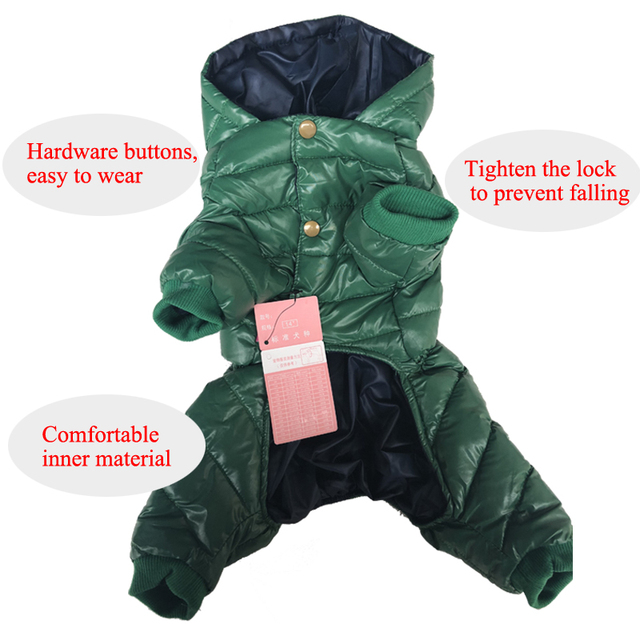 CoolPaw Pet Dog Jumpsuit Thickening Cotton Puppies Body Winter Pets Clothes Pet Warm Down Jacket for Dogs 5