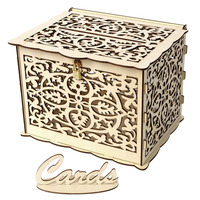 Wood Wedding Gift Card Box with Lock Wooden Money Box Beautiful Wedding Decoration Supplies for Birthday Party DIY Accessories