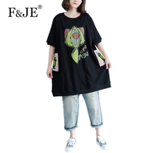 F&JE 2017 New Arts style all-matched Casual Women Dress Big Pocket design Knee-length Dresses Cotton Print Loose Dress S232