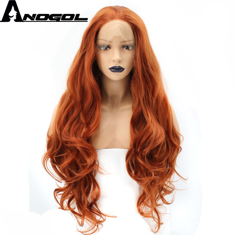 Anogol High Temperature Fiber Free Part Orange Natural Long Body Wave Copper Red Synthetic Lace Front