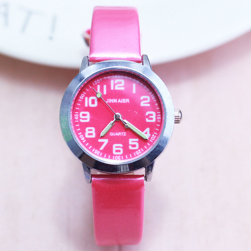 2018 Hot Children Lovely 6 Colors Dial Leather Watch Little Boys And Girls Luminous Hands Gift Clock Free Shipping
