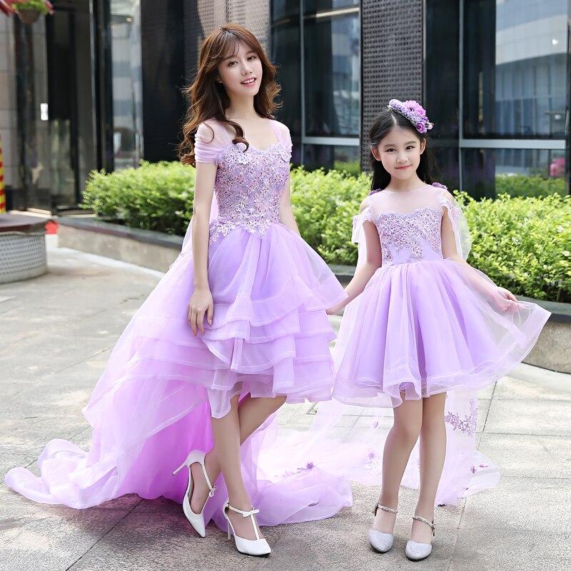 Mère fille filles robe de mariée robe de bal dentelle bal violet maman et moi vêtements floral tutu jupe famille correspondant tenues