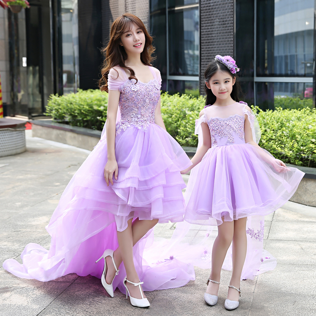 8f34aced7 Mother Daughter Girls Wedding dress Ball Gown lace Prom purple Mommy and Me  Clothes floral tutu skirt Family matching outfits