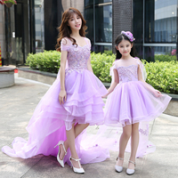 Mother Daughter Girls Wedding dress Ball Gown lace Prom purple Mommy and Me Clothes floral tutu skirt Family matching outfits