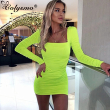 Colysmo 2 Layers Sexy Bodycon Dress 2019 Autumn Women Backless Pleated Pencil White Dress Party Club Casual Dress Neon Yellow molauna round sunglasses women brand designer retro sun glasses for women fashion mirror shades female glasses oculos de sol