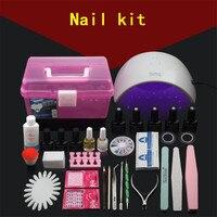 Профессиональная УФ гель Лаки для ногтей комплект ногтей Box набор инструментов Гвозди Светодиодный УФ лампы Дизайн ногтей маникюрный набор