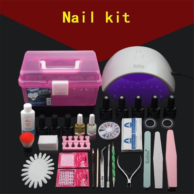 Professional UV Gel Nail Polish Set Box Tool Nails LED Lamp Art