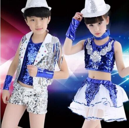 New 2018 Sequin Jazz Dance Modern Dance Costume Kids Fashion Latin Hip Hop Dance Costume Outfit Stage Show Clothes Dance Wear