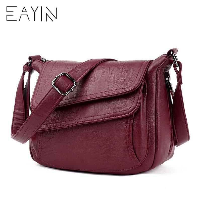 EAYIN bags handbags women famous brands Leather Crossbody Bags For Women Messenger Bag Female Shoulder Handbag Crossbody Bag стоимость