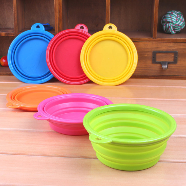 1PC Collapsible Portable Silicone Dog Bowl Outdoor Dog Travel Bowl Candy Color Pet Puppy Food Feeder