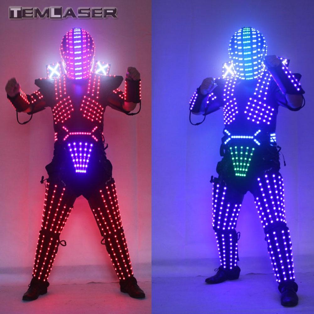 Cor RGB LEVOU Crescente Robô Terno Desgaste da Dança Roupas Traje Homens LED Luminoso Para Night Clubs Party KTV Suprimentos