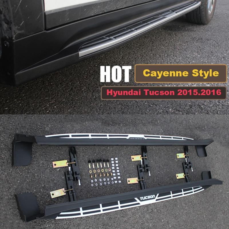 Pour Hyundai Tucson 2015.2016.2017 Voiture Marchepieds Auto Side Step Bar Pédales de Haute Qualité Marque Nouveau Cayenne Style Nerf Bars