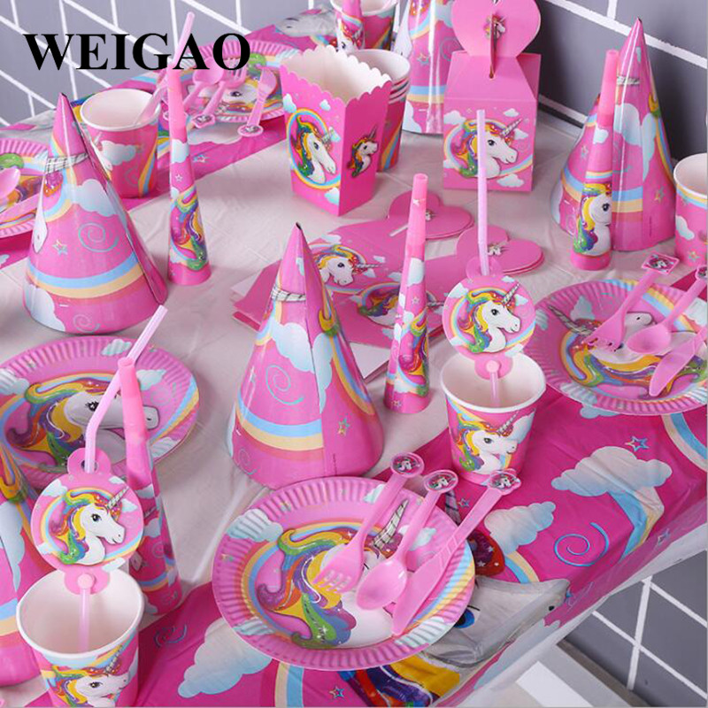 WEIGAO Pink Unicorn Party Tableware Set Unicorn Banner Cup Candy Box Kids Happy Birthday Party Baby Shower Decor Party Favors