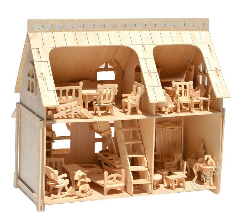 BOHS Grand Porche Maison Entière avec Véranda bricolage Modèle 3D Puzzle, avec 34 pièces Meubles 33*30*20