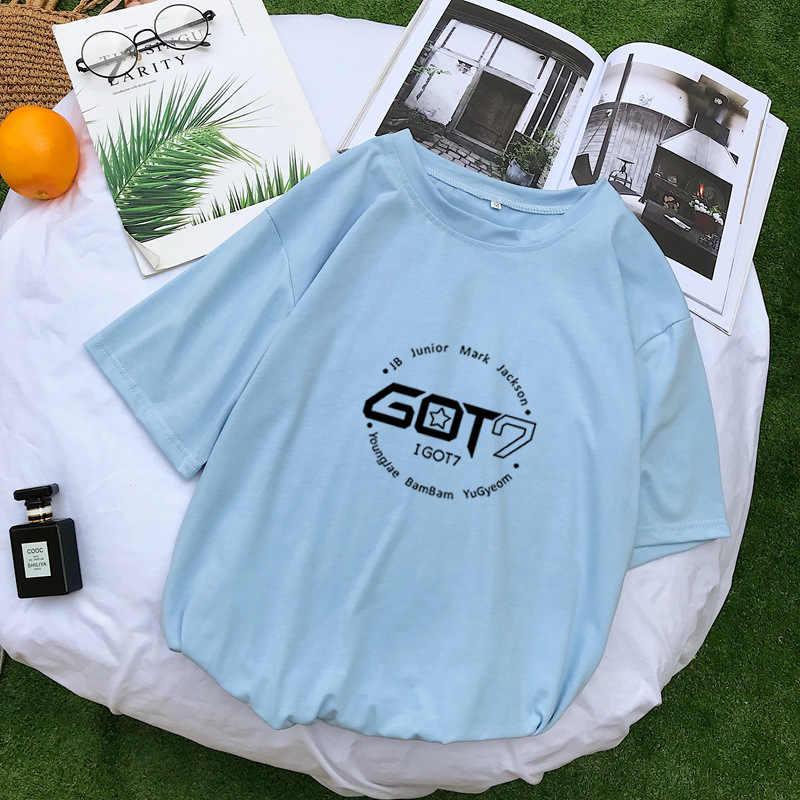 Kpop GOT7 футболка Для женщин хлопок короткий рукав в Корейском стиле, модная футболка для мальчиков в стиле «хип-хоп» Для мужчин/Для женщин футболка Повседневное свободная одежда