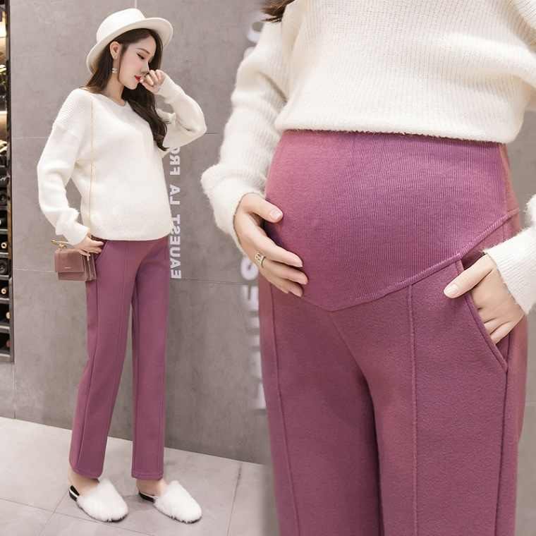 bae1a0ad3ee55 Maternity pants autumn and winter fashion new style wear wide-leg trousers  winter woolen suiting