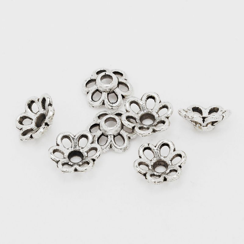 100 pcs Tibetan Silver Hollow Flower End Bead Caps For Jewelry Craft DIY 7mm 10041956