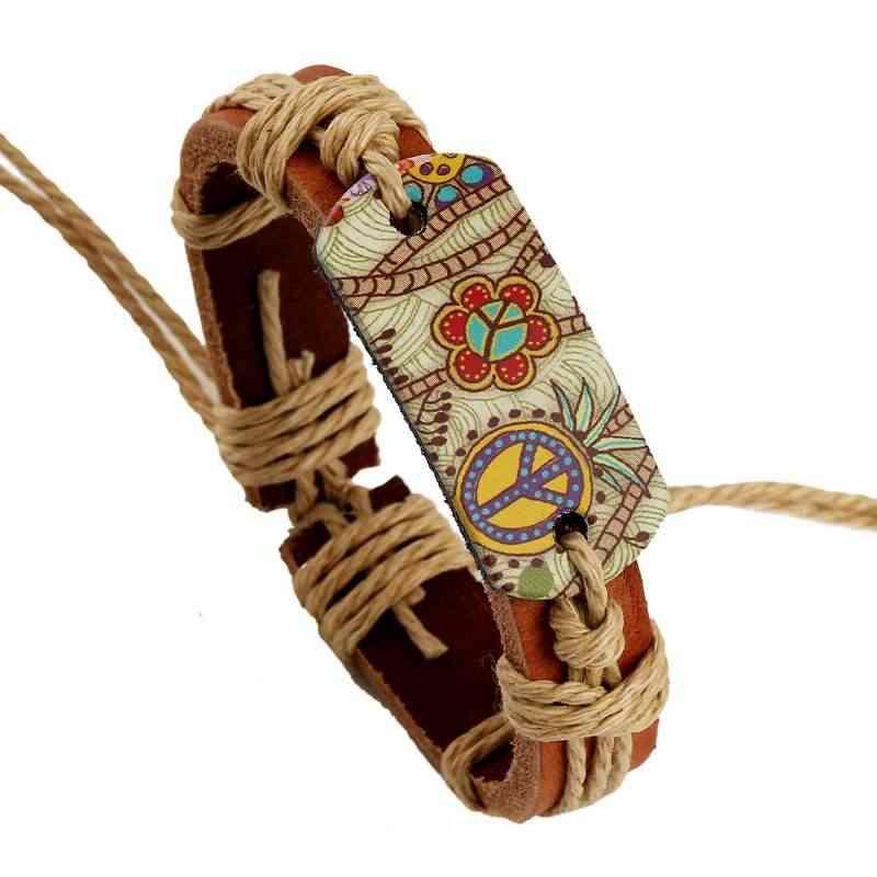 Skórzany pokój bransoletka mężczyzn biżuteria punkowa nowy dla kobiet bransoletki wysokiej jakości koraliki drewniane urok w stylu Vintage drukowania bransoletki