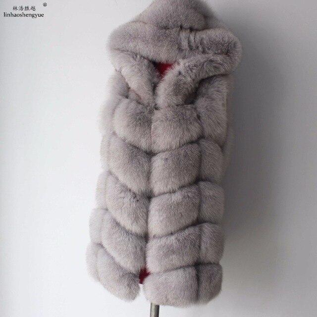 Linhaoshengyue 2017 70ซม.จริงฟ็อกซ์ขนสัตว์เสื้อกั๊กฤดูหนาวWarmเสื้อกั๊กแฟชั่นFreeshipping