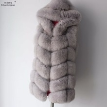 Linhaoshengyue 2017   70cm Real Fox Fur Coat  Women Vest Winter Warm  Fashion Vest Freeshipping