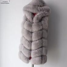 Linhaoshengyue 2017 70cm gerçek tilki kürk ceket kadınlar yelek kış sıcak moda yelek ücretsiz kargo