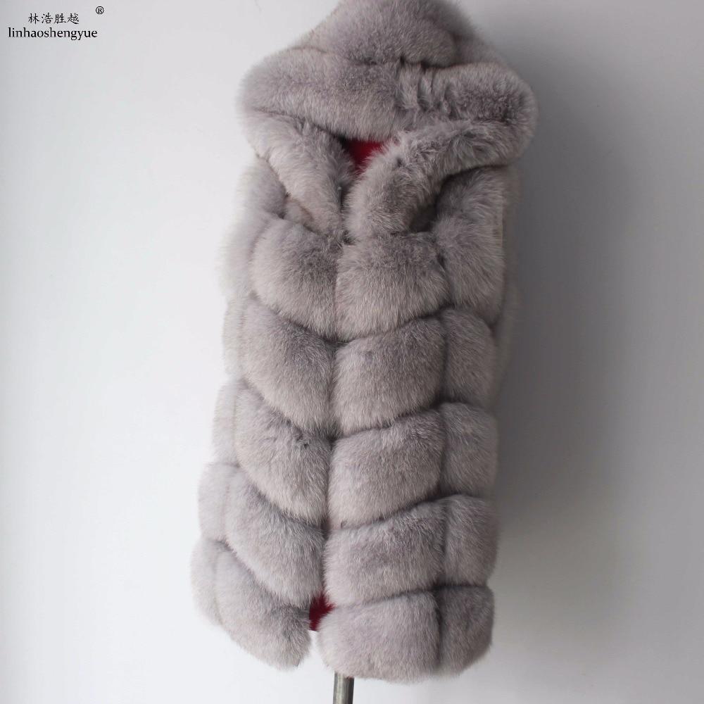 Linhaoshengyue 2017 70cm real casaco de pele de raposa colete feminino inverno quente moda colete frete grátis    -