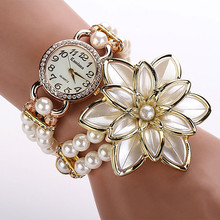 Fashion Watches Women Artificial Pearl Strap Flower Bracelet Quartz Wristwatch Watch Female Dress Clock Reloj Mujer DropShipping