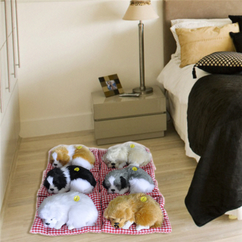 Stuffed Toys Lovely Simulation Animal Doll Plush Sleeping Dog Toy with Sound Kids Toy Decorations Birthday Gift For Children rabbit plush keychain cute simulation rabbit animal fur doll plush toy kids birthday gift doll keychain bag decorations stuffed