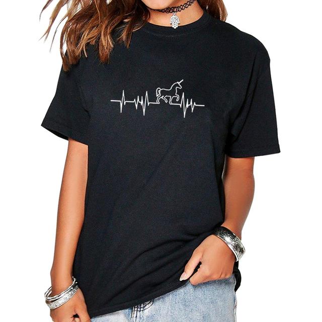 Women's Stylish Cotton T-shirt with Unicorn Themed Pattern