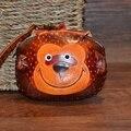 Кошелек ручной работы из натуральной кожи  кошелек для монет  знак зодиака обезьяна  сумка  мультяшный Кошелек для монет  милый мини маленьк...