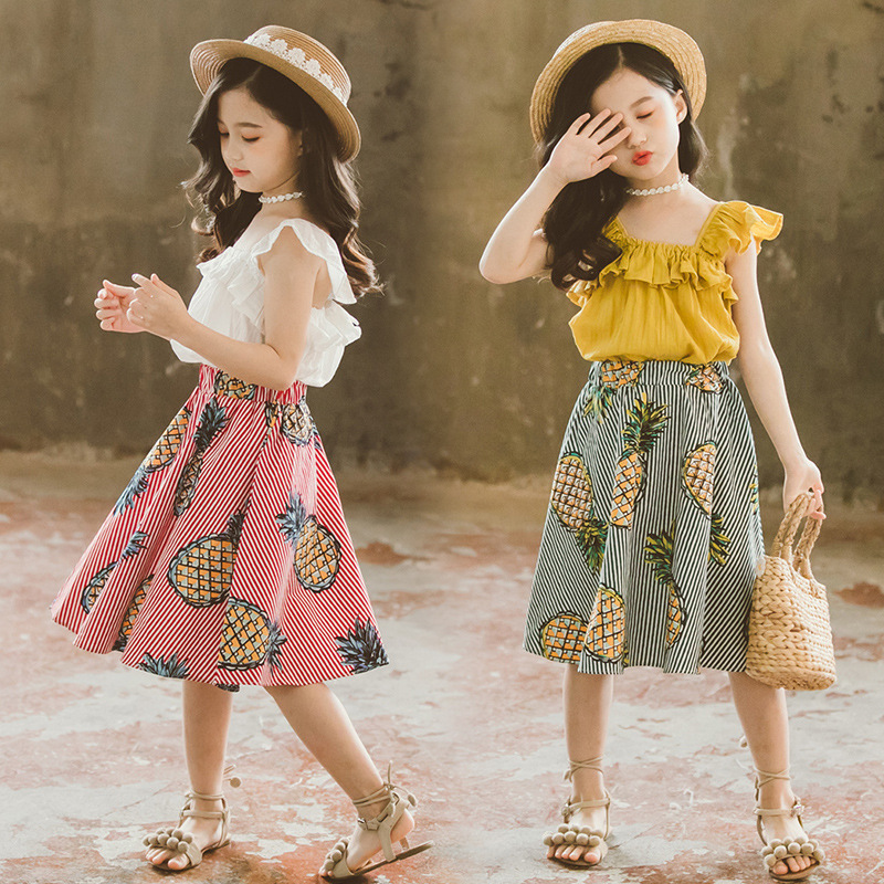 PESTORY Summer Baby Girl Ruffled Cropped top lace Tulle Skirt Two-Piece Suit