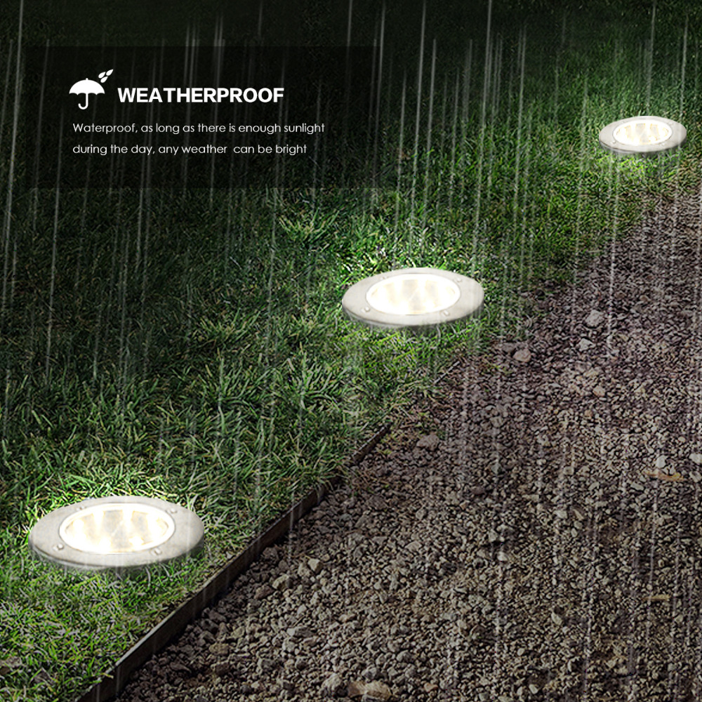 4PCS Waterproof 8 LED Underground Solar Energy Lamp Lawn Light For Outdoor Yard