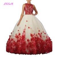 Сладкий vestido дебютантка бальное платье Двойка органзы Quinceanera платье О образным вырезом с длинным 3D цветы сладкий 16 платье Vestidos De 15 Anos