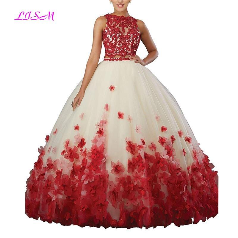 Sweet vestido debutante Ball Gown Two Pieces Organza Quinceanera Dress O neck Long 3D Flowers Sweet 16 Dress Vestidos De 15 Anos