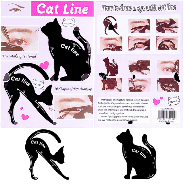 Beauty Eyebrow Women Cat Line Pro Eye Makeup Tool Eyeliner Stencils -2 Pc