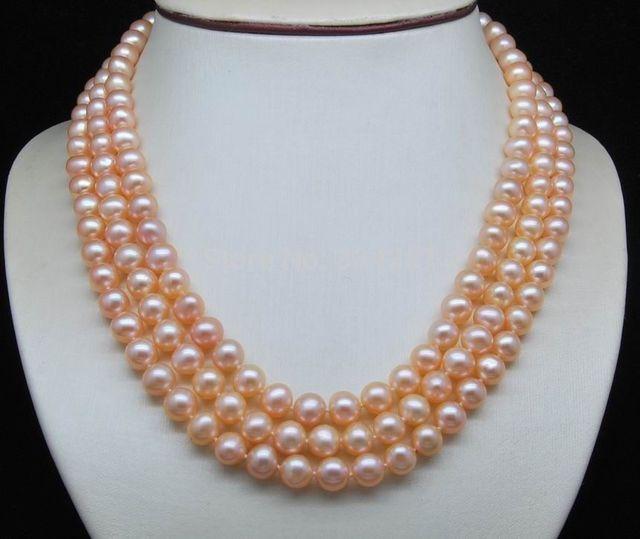 """Encanto de plata accesorio brilló> Triple Strand AAA + 6-7 MM de Color Rosa collar de perlas (16 """"17"""" 18 """")"""