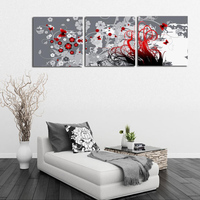 3 Panels Art Wall Canvas Prints On Walls Abstract Flower Picture Painting Red Gray Decor Paintings