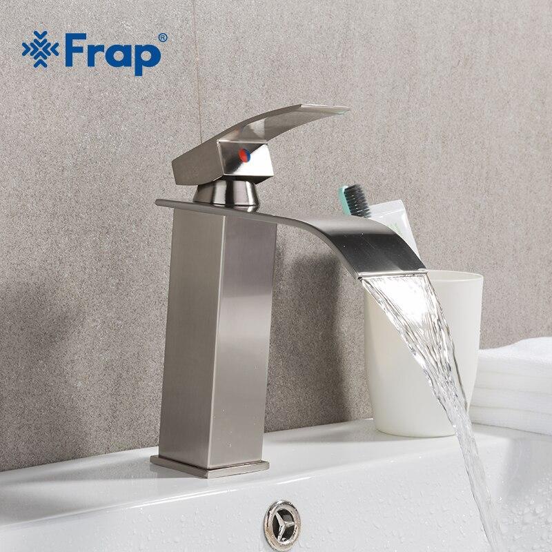 Frap Матовый никель ванная комната кран Водопад смесители Одной ручкой латунь для ванной бассейна горячей и холодной воды смесителя Y10137