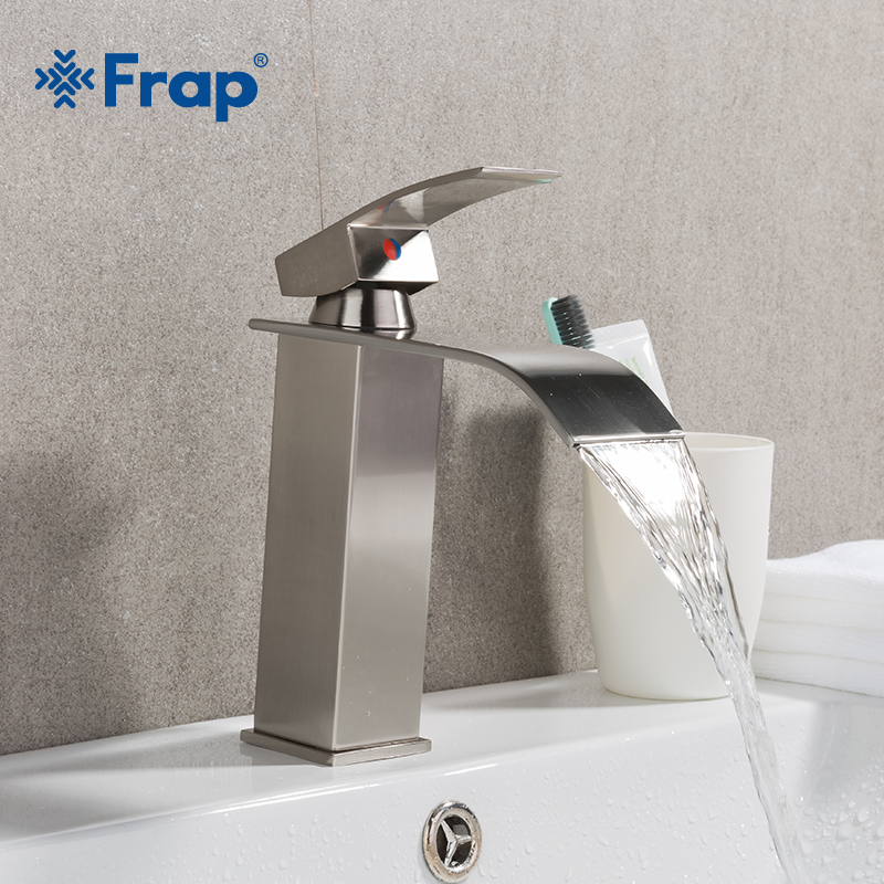 Frap Brushed Nickel Bathroom Faucet Waterfall Faucets Single Handle Brass Bath Basin Hot And Cold Water Mixer Tap  Y10137