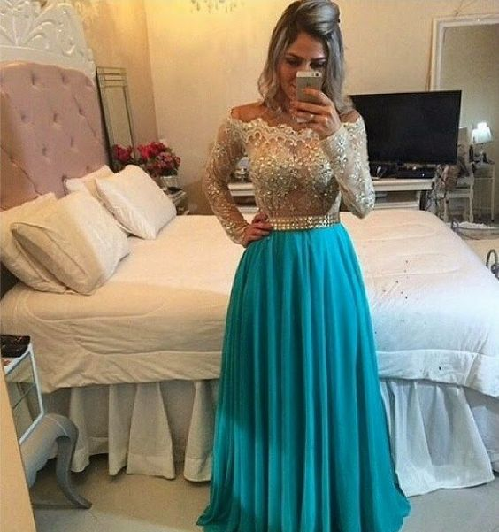 2017 Lace Long Sleeve   Prom     Dresses   BoatNeck Floor Length Champagne Lace Beaded Bodice With Blue Chiffon Skrit Evening Gowns