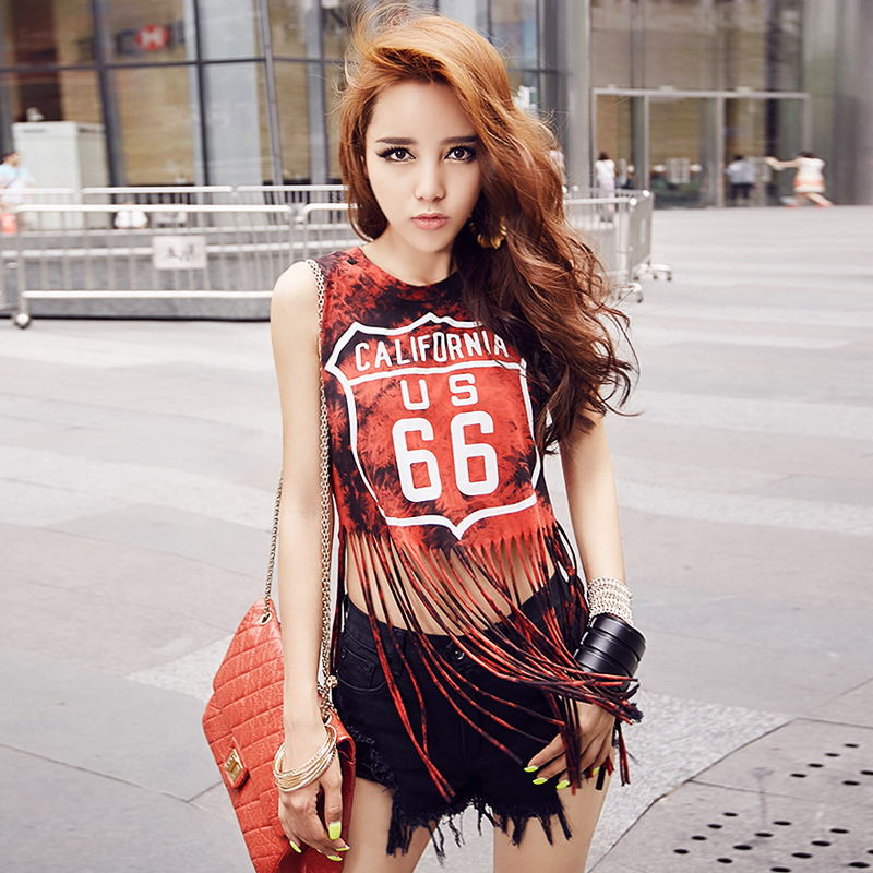 Hip hop top female Jazz costume Red Green Blue Tassel Letter casual Ladies Loose sleeveless Sexy Hollow out short dance t-shirt