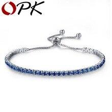 OPK AAA Cubic Zirconia Tennis Bracelet For Women Shining Silver Blue Green Purple Black Birthstone Crystal Bracelet Jewelry, 970