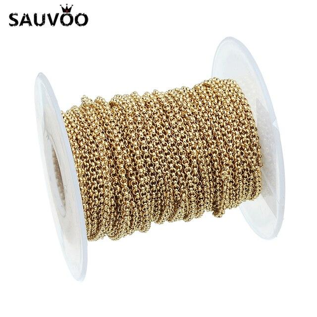 SAUVOO 10 stoczni łańcuchy Rolo szeroki 2.0mm złoty kolor ze stali nierdzewnej O kształt luzem łańcucha dla DIY duży masywny naszyjnik biżuteria ustalenia